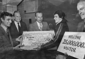 Dec. 20, 1979: From left, Mayor Richard Caliguiri, Robert Dickey III, Warren Riefer, Spirit owner Frank Fuhrer and lucky fan Thomas Kearns, 16, of Baldwin. (Carol Morton/The Pittsburgh Press)