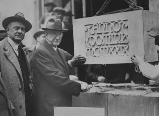April 15, 1930: County commissioners Joseph G. Armstrong and E. V. Babcock laying the cornerstone. (The Pittsburgh Press)