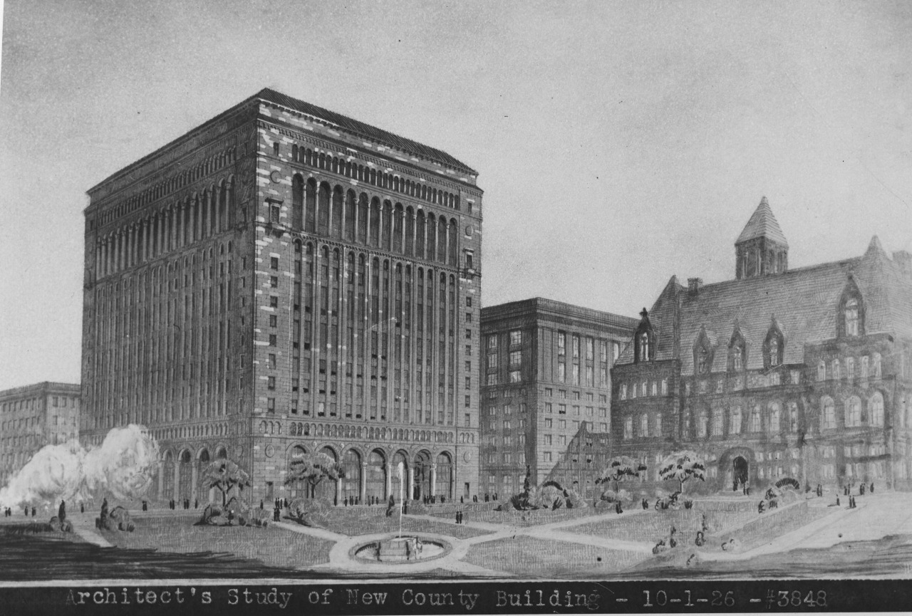 Oct. 1, 1926: An architect's rendering of how the county administration building might have looked. (Credit: Unknown)