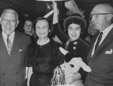 October 1961: The opening of Democratic headquarters in the Frank & Seder Building in Pittsburgh. From left, Gov. David L. Lawrence, Justice Anne X. Alpern, Lynda Harper and Wm. McClelland.