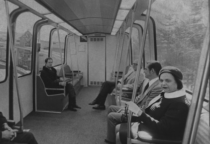 In March 1972, Common Pleas Judge Anne X. Alpern took her long awaited ride on the Skybus at South Park. (Edward A. Frank/The Pittsburgh Press)