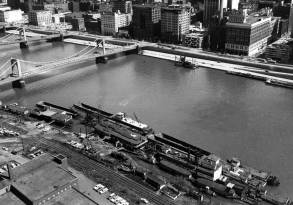 Aerial view of Zubik's fleet on the North Shore in April 1960. (Pittsburgh Press photo)