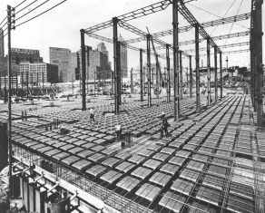 Sept. 27, 1965: Forms for the Chatham Center dome floor construction were erected at a record speed of 10,000 square feet per day. (Handout/Hausman Corp.)