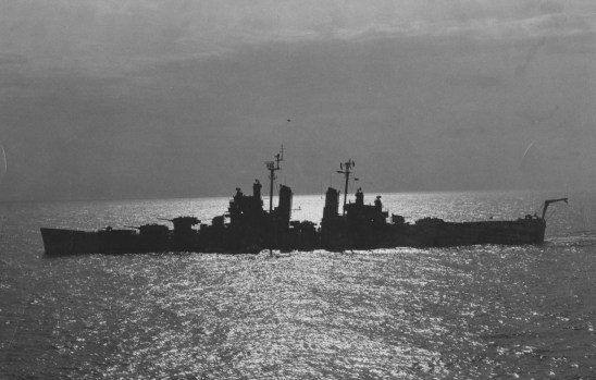 March 1955: The USS Pittsburgh standing guard while Chinese Nationalists were evacuated from Tachen Islands. (Credit unknown)