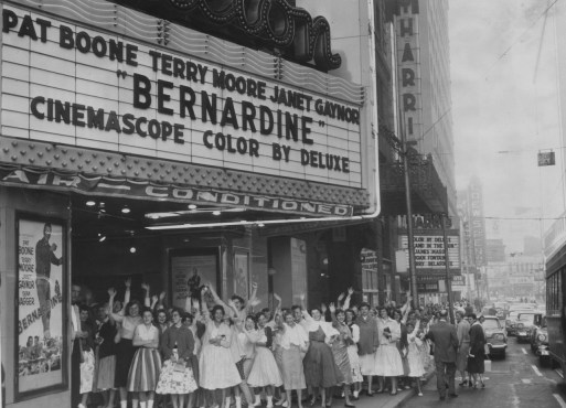 "This 1957 image shows young moviegoers lining up at 7:30 a.m. outside the Fulton Theater to see a movie called ""Bernardine."" (Pittsburgh Sun-Telegraph)"
