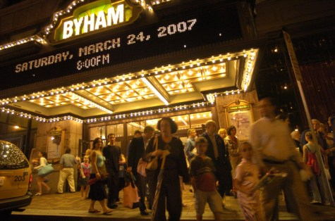 A crowd gathers outside the Byahm Theater in 2007. (Alyssa Cwanger/Post-Gazette)