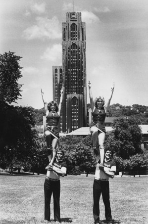 (From left) Joe Binder, Jan Shadle, Saverio Strati and Carol Baumgartner conduct cheer leading practice at Phipps Conservatory on June 7, 1981. (Andy Starnes/The Pittsburgh Press)