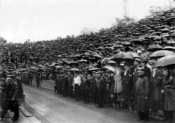 Sea of umbrellas at Pitt Stadium. (Pittsburgh Press photo)