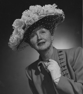 This 1950 photo by Ben Polin shows Hollywood gossip columnist Hedda Hopper in her favorite hat, an Easter bonnet created by famed designer Lilli Dache.