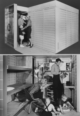Sept. 19, 1961: Scenes from a family's model fallout shelter. (Credit unknown)