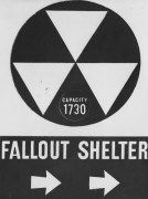 Jan. 14, 1985: A photo of a fallout shelter directions sign. (Associated Press)