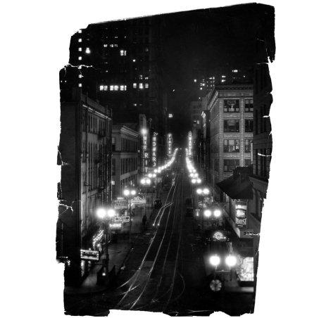 Fifth Avenue at night, circa 1935 . (Pittsburgh Press photo)