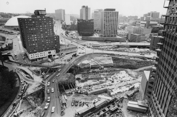 May 25, 1982: The Steel Plaza subway station, shot from the 17th floor of the William Penn. (Andy Starnes/The Pittsburgh Press)