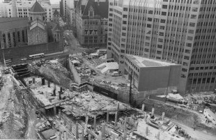 June 17, 1983: A view of the Steel Plaza station, Mellon Building and Allegheny County Jail. (Tony Kaminski/The Pittsburgh Press)