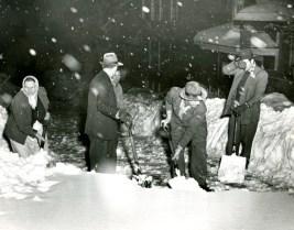 Shoveling snow on Acorn Street, Greenfield, 1950.