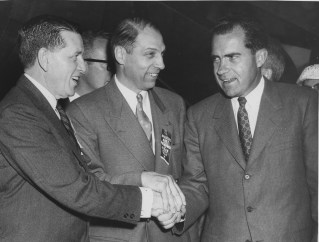 This 1956 photograph shows Republican U.S. Congressman James G. Fulton, left, Sid Lockley, center and Vice President Richard Nixon, at right.