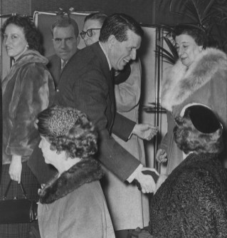 Rep. James G. Fulton greets voters at a Nixon for President tea in 1959. ​
