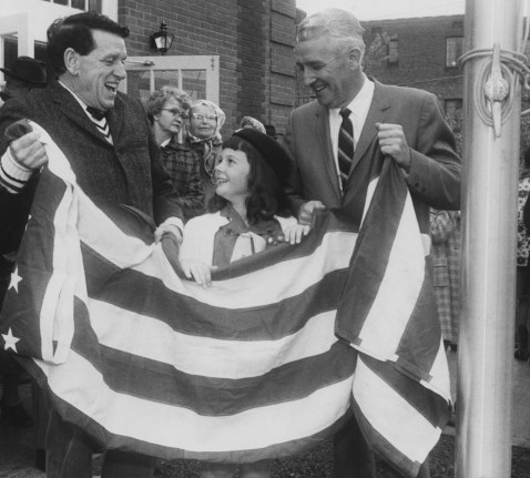 In 1965, U.S. Rep. James G. Fulton, left, attended the dedication of a new post office on Steuben Street in Crafton. In the middle is Girl Scout