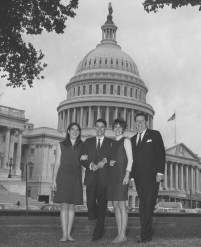 "This 1968 pictures shows U.S. Congressman James G. Fulton standing near the U.S. Capitol with his office staff, from left to right, Kathryn Schreiner of Mt. Lebanon, Captain David Guerrieri, of Mt. Lebanon and Sarah ""Sally"" Brinkerhoff of Whitehall."