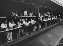 Forbes Field's press box, where John Gruber spent many of his later years. This photo, from 1939, is the earliest of the press box that exists in our archive. (We previously thought it was from the 1950s; it was republished in The Pittsburgh Press in 1957 for a Sunday magazine feature and improperly filed in the newspaper's photo archive.)