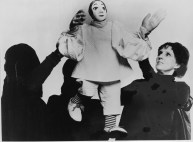 Margo Lovelace, at right, works with one of her puppets.