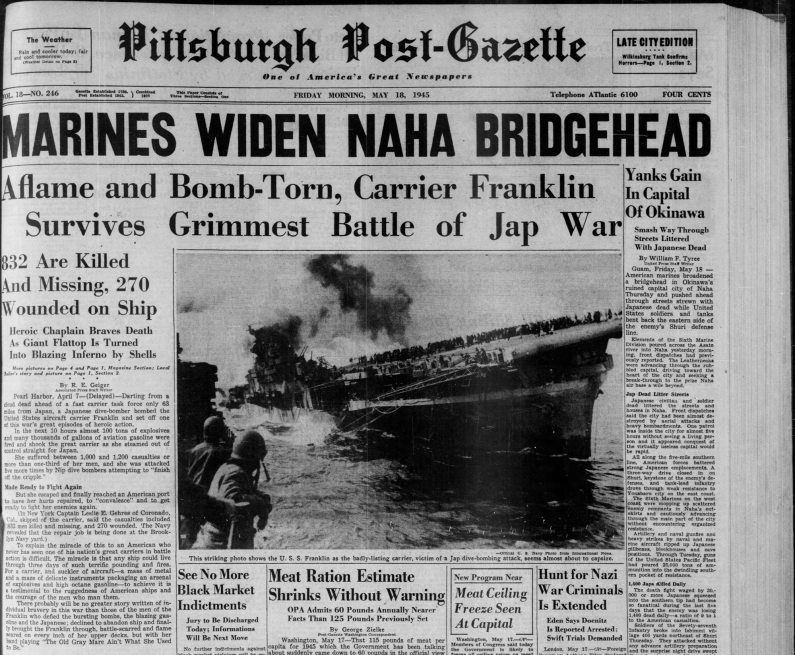 Front page of the Post-Gazette on May 18, 1945.