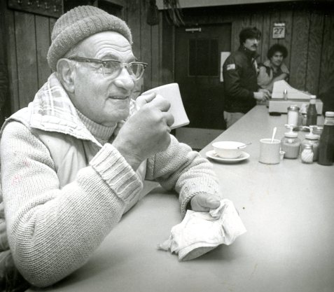 Meyer's only break was for coffee at the 21st Street restaurant in the Strip District.