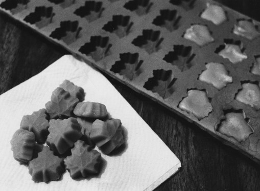 Maple Sugar candies are crafted by pouring hot, concentrated syrup into a mold. (Robin Rombach/The Pittsburgh Press)