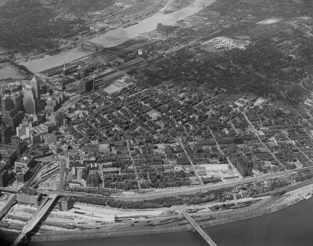 May 22, 1954: An aerial view of the eastern edge of Downtown's skyline, Uptown and the Hill District. (The Pittsburgh Press)
