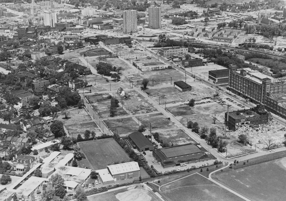 November 1976: An aerial view in East Liberty of a school to be built there near Bakery Square on Penn Avenue. (The Pittsburgh Press)