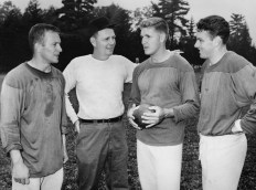 Steelers coach Buddy Parker with his quarterbacks. From left, Ted Marchibroda, Buddy Parker Jack Scarbath and Len Dawson. (Stewart Love/The Pittsburgh Press)