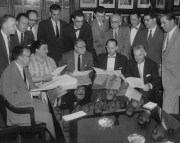 1957: A meeting of the sales staff at The Pittsburgh Press.