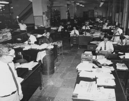 May 27, 1957: A view of the rewrite department inside The Pittsburgh Press editorial office.