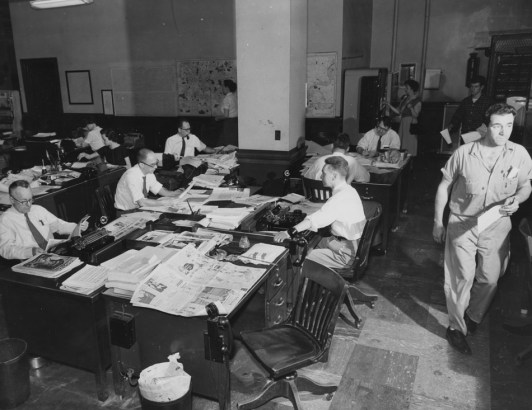May 27, 1957: Employees at The Pittsburgh Press work on the newspaper's family magazine.