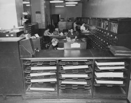 May 27, 1957: Librarians at The Pittsburgh Press work inside the newspaper's editorial library.