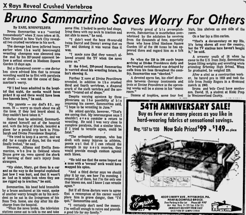 Pittsburgh Press profile of Sammartino from May 8, 1976.