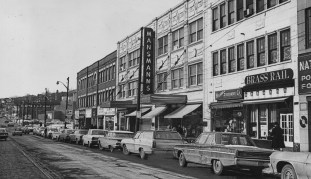 February 13, 1968: Plans are under way to renovate the old facade of Mansmann's Department Store in East Liberty during the area's redevelopment.