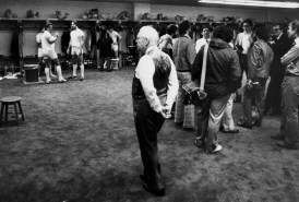 Rooney in the Steelers locker room prior to the first practice since a strike in 1982.