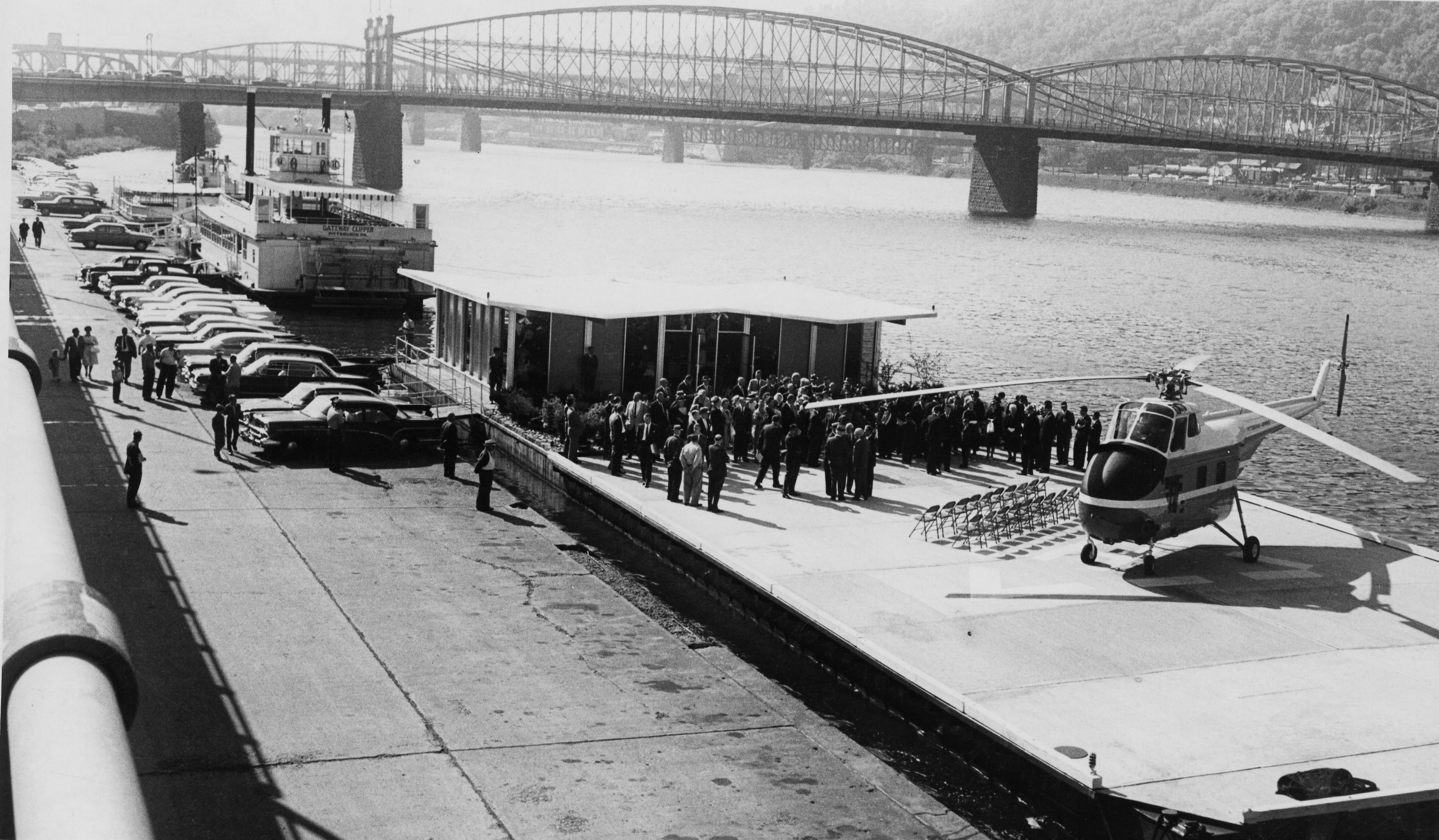 Celebration of the opening of the heliport on the Mon at the foot of Wood Street. (Post-Gazette)