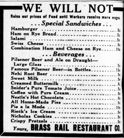 Menu for Brass Rail Restaurant, 1935.