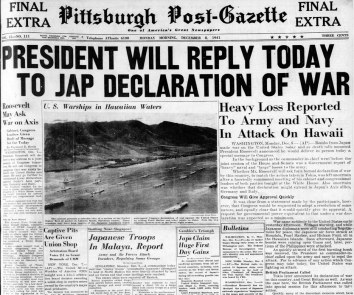 Front page of the Post-Gazette on Dec. 8, 1941