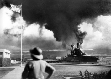 American ships burn during the Japanese attack on Pearl Harbor.