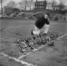 On the first day of spring training, Pitt football coach John Michelosen ponders the upcoming 1963 season. (Morris Berman/Post-Gazette)