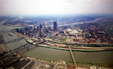 View of the Golden Triangle and Hill District. (Dale Gleason/The Pittsburgh Press)