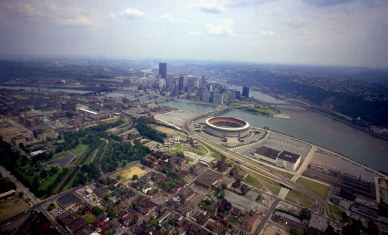 View of the North Side, Three Rivers Stadium and the Golden Triangle. (Dale Gleason/The Pittsburgh Press)