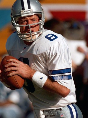 Cowboys quarterback Troy Aikman warms up before Super Bowl XXX. Aikman completed 15 of 23 passes for 209 yards, a touchdown and no interceptions in the game. (Associated Press file photo)
