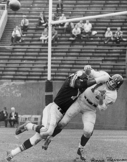 Steeler John Baker delivers the hit that bloodied Tittle. Berman autographed this print, now in the PG archives.