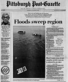 Front-page coverage of the flood in the Post-Gazette.