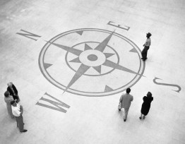 August 1952: Compass in the airport's floor. (Stewart Love/The Pittsburgh Press)