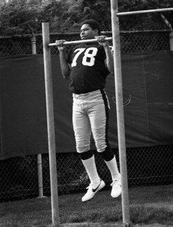 """Defensive end Dwight White was a high-energy player who earned the nickname """"Mad Dog."""" He died at age 58 in 2008. (Albert M. Herrmann Jr./The Pittsburgh Press)"""